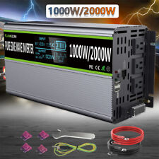 Pure Sine Wave Inverter 1000W 2000W DC 12V To AC 120V LCD Dispaly Car Camping US