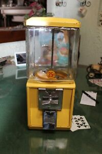 Vintage All Metal & Glass 25¢ Gumball Candy Nut Vending  Machine Working