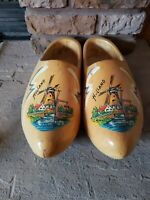 Pair of Wooden Dutch Shoes Clogs Natural Wood Windmill Holland