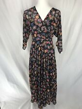 Antropologie HD in Paris Size 0 Black Floral with Asymmetric Length - NWT