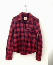 Hollister Womens Red And Navy Check Shirt Size Medium