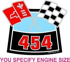"""Chevy Cross Flags Air Cleaner sticker ANY ENGINE SIZE decal 4""""x3.3"""""""