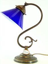 Lampada ottone brunito da tavolo,studio in stile ministeriale vetro blu s29