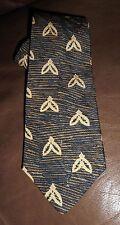 BUGATTI  100% Silk Tie Men's NWOT Blue Golden Brown Beige Geo Striped Necktie