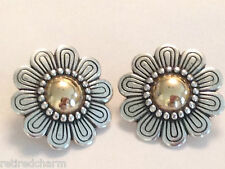 ❤RETIRED JAMES AVERY 14K GOLD SILVER 🌻 FLOWER EARRINGS FRENCH CLIP DOME Charm❤