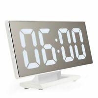 Digital Alarm Clock Led Mirror Multi-function Snooze Display Table Desktop Night