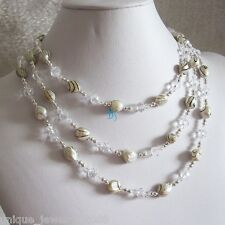 """54"""" 6-7mm White With Black Wave Freshwater Pearl Necklace Crystal Necklace"""