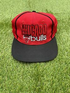 VINTAGE 90s CHICAGO BULLS THE GAME Limited Edition Snapback Cap Hat Red Black