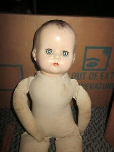 VTG 17 INCH COMPOSITION/CLOTH R & B LITTLE ANGEL? BABY DOLL FOR RESTORATION