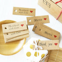 100 Pcs Kraft Paper Gift Tags Handmade Paper Hang Cards Price Label DIY Crafts