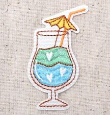 Cocktail/Tropical Drink - Green/Blue Umbrella Iron on Applique/Embroidered Patch