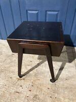 Antique Mid Century Bedside Wood Wheeled Trolley Side Table Vintage Storage #L