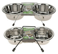 Stainless Steel Dog Bowls on Stand 2 Dog Cat Pet Food Feeding Bowl Water Bowls