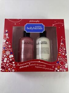 Philosophy Sparkling Hollyberries 2-Pc Set Body Lotion & Shower Gel 8 oz ea NIB