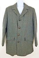 Stratojac Wool Herringbone Gray Overcoat Peacoat Men's Jacket Size 40
