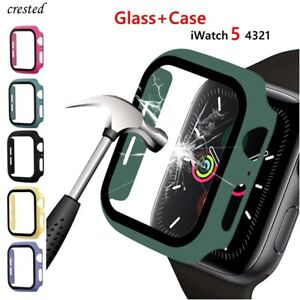 Glass+case For Apple Watch series 6 5 4 3 SE 44mm 40mm iWatch Case 42mm 38mm