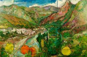 LANDSCAPE WITH MOUNTAINS. SIGNED CARLOS MADIROLAS. OIL ON CANVAS. SPAIN. C. 1980
