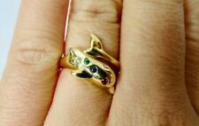 18 Karat Yellow Gold, Dolphin Ring with Multi Colored Gemstones