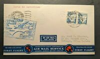 1937 Horta Portugal First Flight Airmail Cover FFC to Chicago Illinois USA