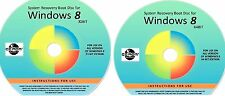 WIN 8, 32 & 64 Bit System Recovery Software Disc's - 2017 x 2
