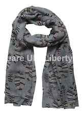 Lightweight All Seasons Abstract Leaf Scarf / Easter Bunny #543