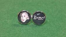 Albert Einstein Tongue Glass domed cufflinks, e=mc2