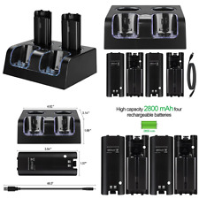 Hokyzam Charger For Wii WL04 Remote Dock 4 In 1 Battery W Rechargeable Batteries