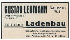 14/379 ANZEIGE AUS EINER ZEITUNG 1930 GUSTAV LEHMANN LADENBAU LEIPZIG SACHSEN