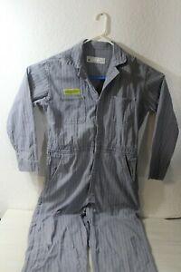 Vintage Mens Coveralls Made in USA Herringbone Denim Size 44R Work Wear