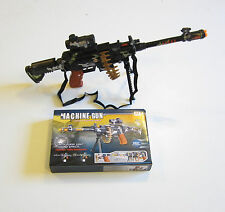 1 TOY MACHINE GUN WITH LIGHTS SOUND SCOPE BULLETS & STAND MILTARY ASSAULT RIFLE