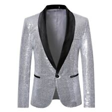 Business Mens Sequins Glitter Suit Blazer Wedding Party Outwear Jacket Tops Coat