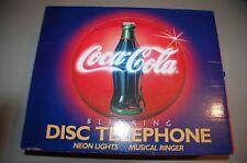 Coca Cola Disc Telephone * Neon Lights * Musical Ringer *Vintage * 1995 * NIB