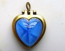 Vintage Heart Locket Pendant Moonstone Blue NOS Gold Tone Star Sapphire #515K