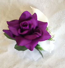 PURPLE LAPIS ~ Pin On CORSAGE ~ Roses Calla Lilies Silk Wedding Flowers PROM
