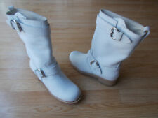 dfd106b1bd3 Giuseppe Zanotti Riding Boots Mid Calf Crystal White Pebbled sz 41 US 11 NEW