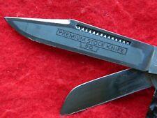 VINTAGE F A Bower Solingen Germany Jigged bone Etched Premium Stock Knife 3 7/8
