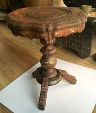 Vintage Old Wood Hand Carved Brass Inlaid Floral Work Round Beautiful Table