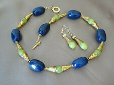 Cleopatra style yellow lemon jade blue lapis stone gold necklace earrings set