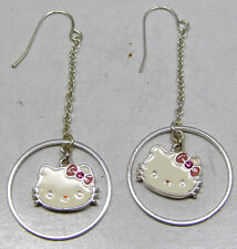 Vintage Long Dangle HELLO KITTY Sanrio Hook Earrings Cute Fun White Silver Tone