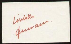 Liselotte Neumaan signed autographed 3x5 index card LPGA Golfer