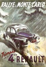 ART POSTER-Monte Carlo Rally-Renault 4-Deco a3 Print