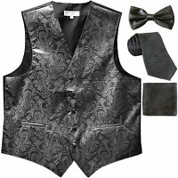 New Men's Paisley Tuxedo Vest Waistcoat & necktie & Bow tie & Hankie dark gray