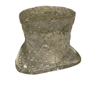 """Vintage Fenton Clear Glass Top Hat Daisy & Button 3.5"""" Wide 2.5"""" Tall"""