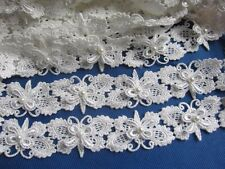 """2y Butterfly 1.25"""" Lace Edge Trim Pearl Wedding Applique DIY Sewing Crafts White"""