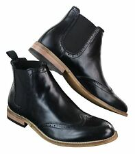 Mens Black Shiny Patent Leather PU Boots Slip On Brogues Retro Smart Casual