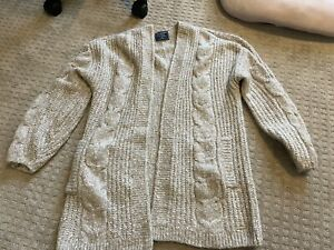 abercrombie fitch oatmeal oversized knit  cardigan sweater Mediu