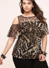 Women's plus size LEOPARD MESH COLD SHOULDER TOP 18/20 2X Retail $42