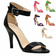 Synthetic Leather Strappy, Ankle Straps Textured Heels for Women