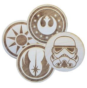 "Star Wars Inspired Emblems - Laser Engraved - 4.25"" Wooden Coasters - 23 Designs"