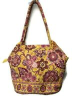 Vera Bradley Bali Gold Angle Tote Retired Shoulder Bag Purse Yellow Floral